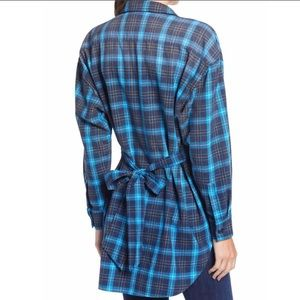 New Pam & Gela Tie Back Plaid Button Down Top